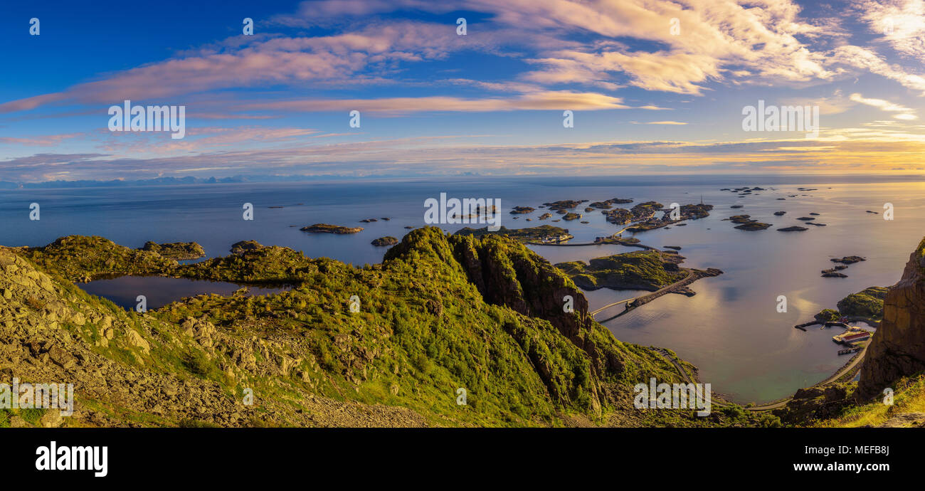View from mount Festvagtinden above the village of Henningsvaer in Norway Stock Photo