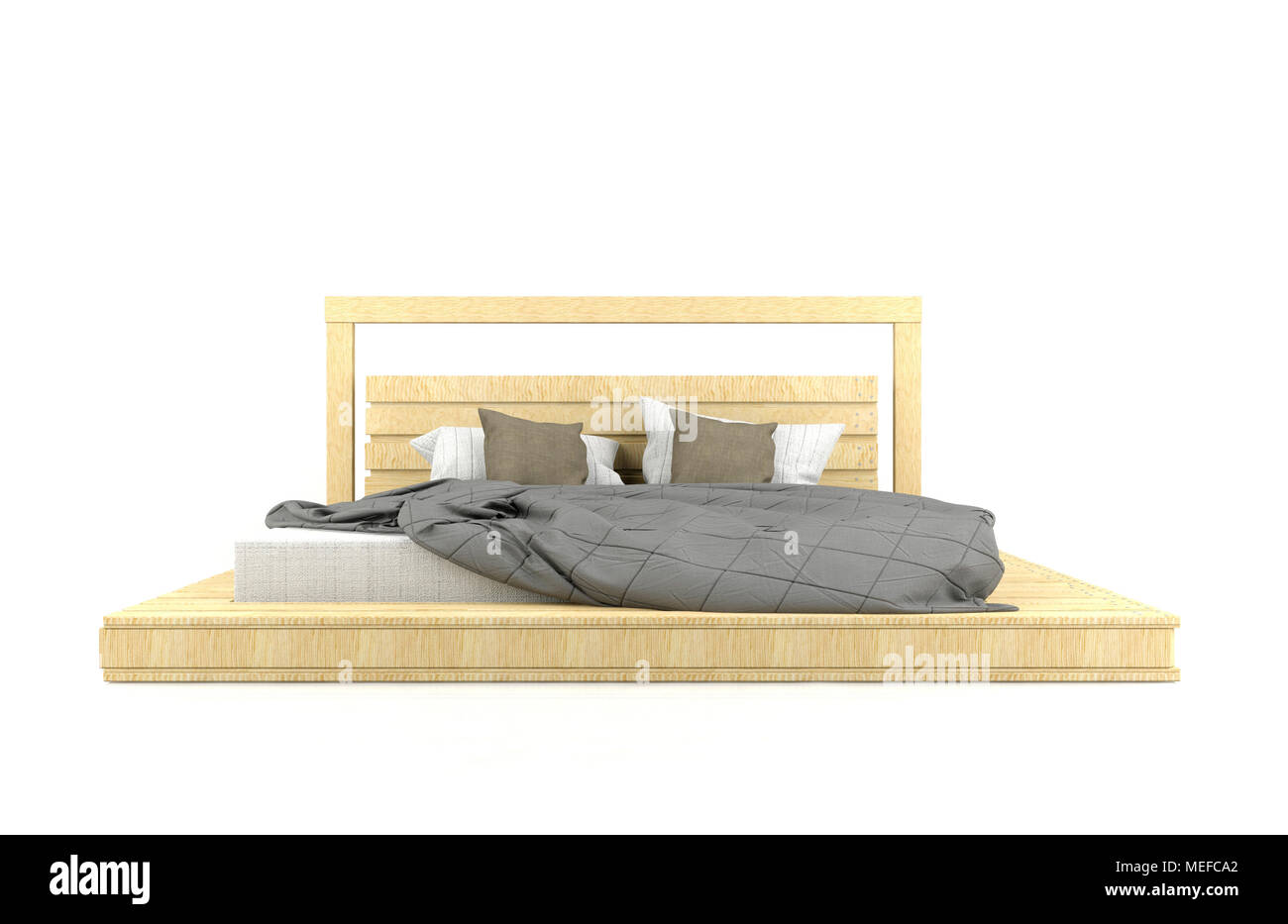 Modern and Loft design wooden bed isolated on white background - Stock Image