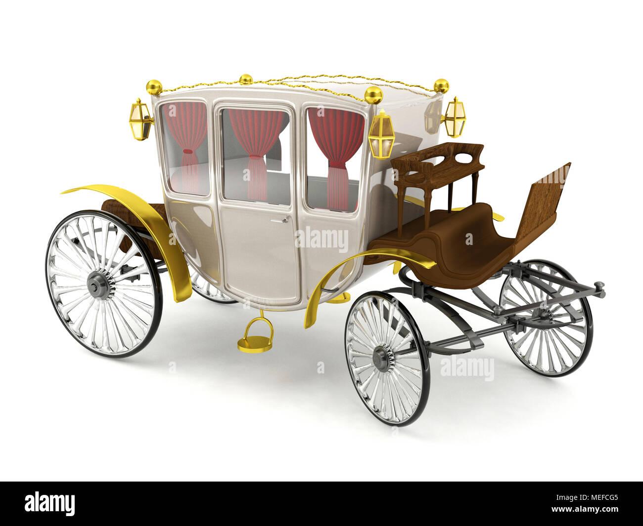 Luxury horse carriage isolated on white background - Stock Image