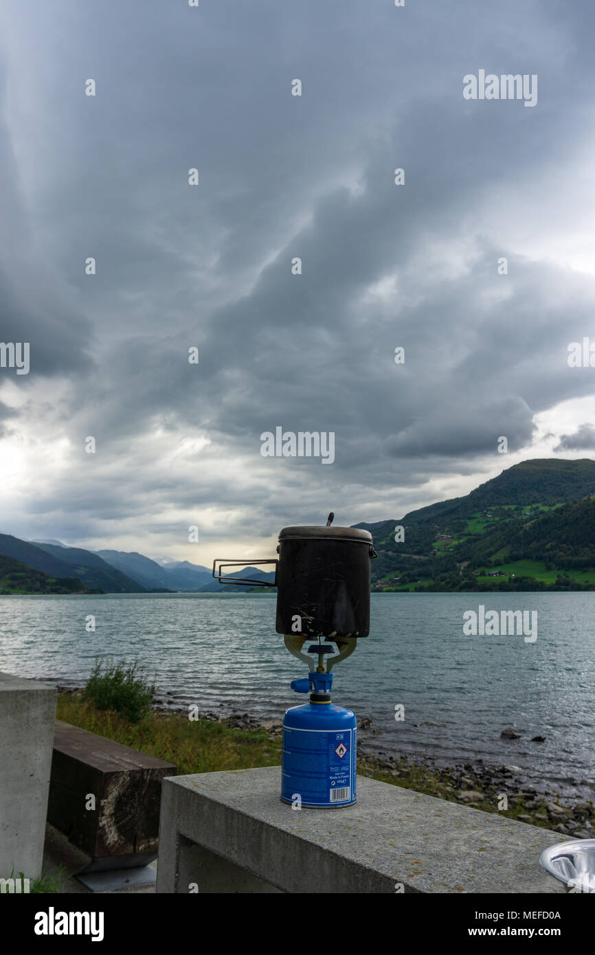break camping cooker clouds in norway - Stock Image