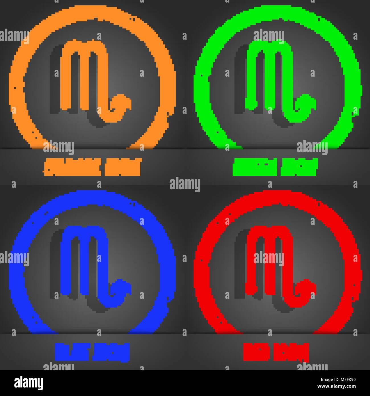 Scorpio icon. Fashionable modern style. In the orange, green, blue, red design. Vector illustration Stock Vector