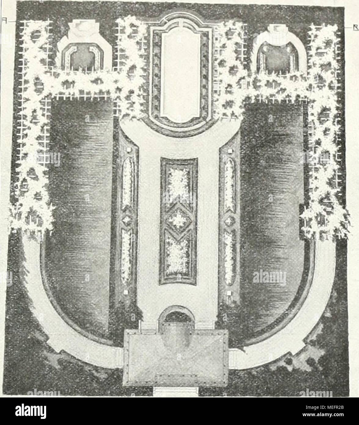 """. Die Gartenkunst . iflUSSTE-LLUNßSQFIRTEN-FR. SRRHE Dflm""""ENRRCniTEnT MflNNhEIM Ijageplan des Sondergarteus von Fr. Brahe auf der Mannheimer Gartenbauausstellung. gesuchter Weise die Formensprache der Modernsten nach- geahmt ist. Weshalb Brahe den Garten einen.,Römischen""""ge- nannt hat, ist mir nicht verständlich geworden — riimischo Anklänge habe ich nicht gefunden. Aber es braucht doch auch einer Sache, die an sich gut ist, nicht erst durch '^ """"Motive"""" u. dgl. Bedeutung beigelegt zu werden? .2: Der eigentliche Zugang zum Garten wurde durch ein (X> Gartenhaus (Seite 237) gebi Stock Photo"""
