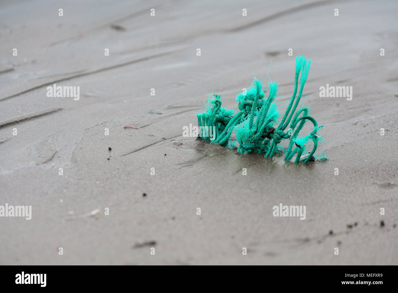 Plastic pollution on beaches in the sand at Tregantle Beach, Cornwall, UK. Nurdles and other detritus on the high tide line. - Stock Image