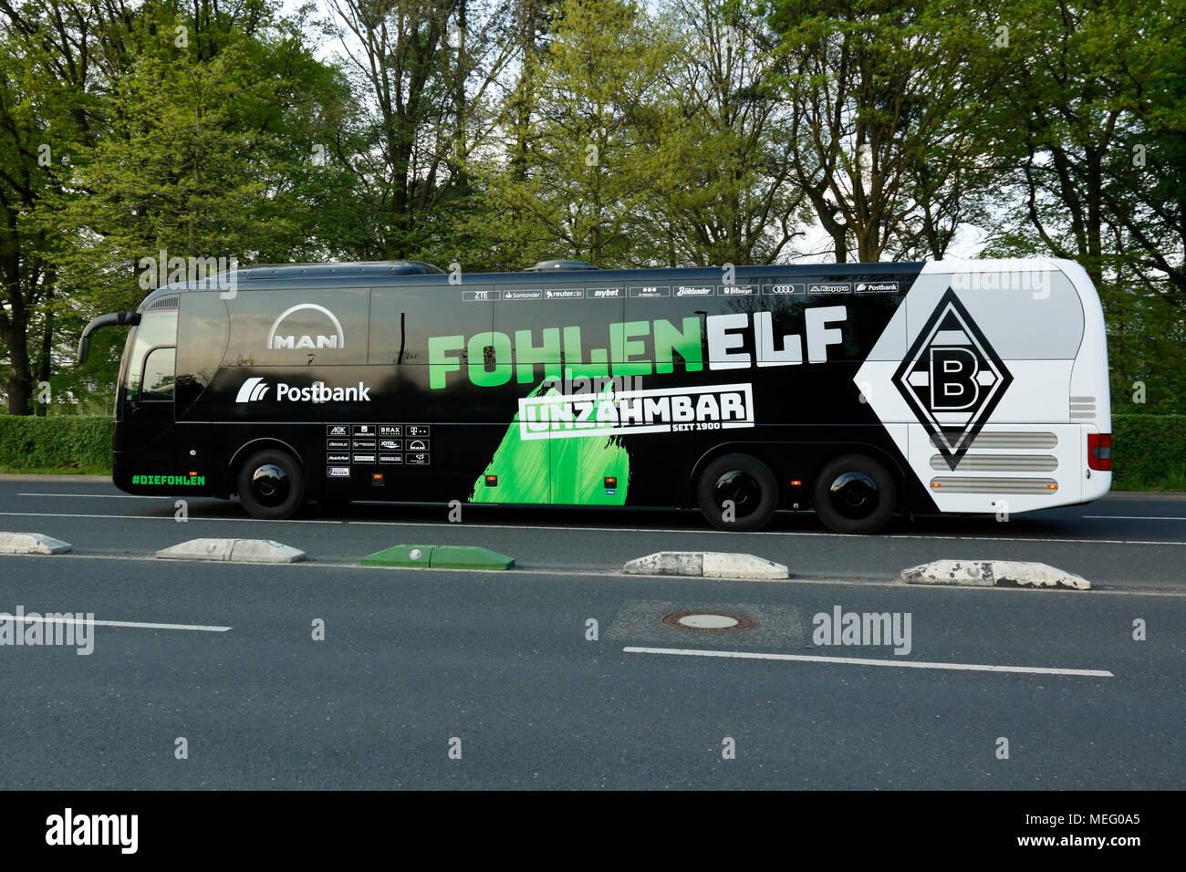 sports,football,Bundesliga,2017/2018,Borussia Moenchengladbach vs VfL Wolfsburg 3:0,Stadium Borussia Park,team bus of Gladbach - Stock Image