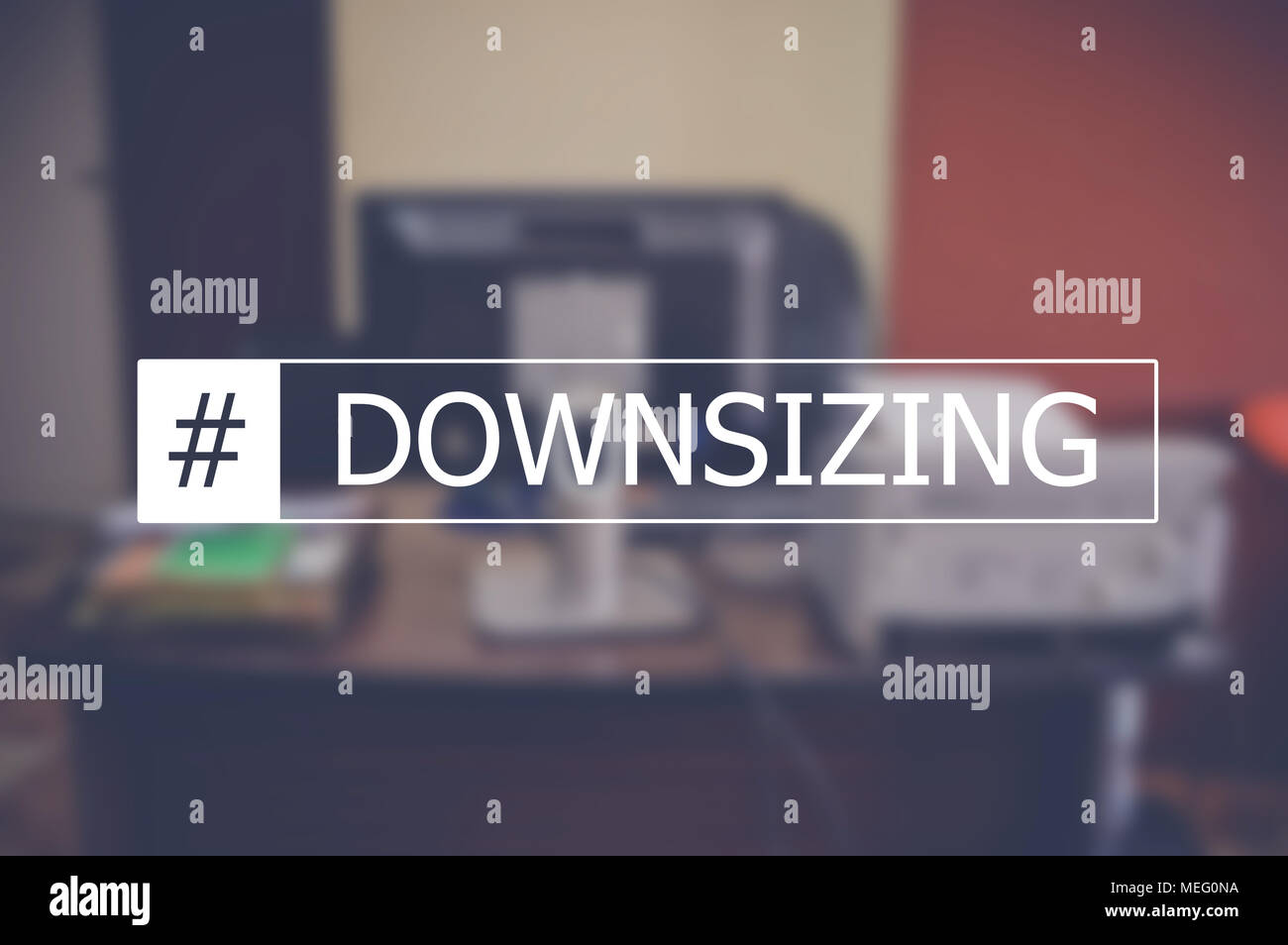 Downsizing word with business blurring background - Stock Image