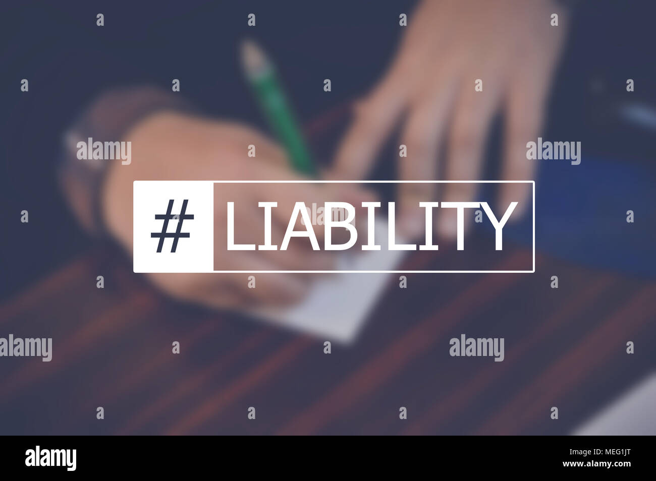 Liability word with businessman hand writing a note background - Stock Image