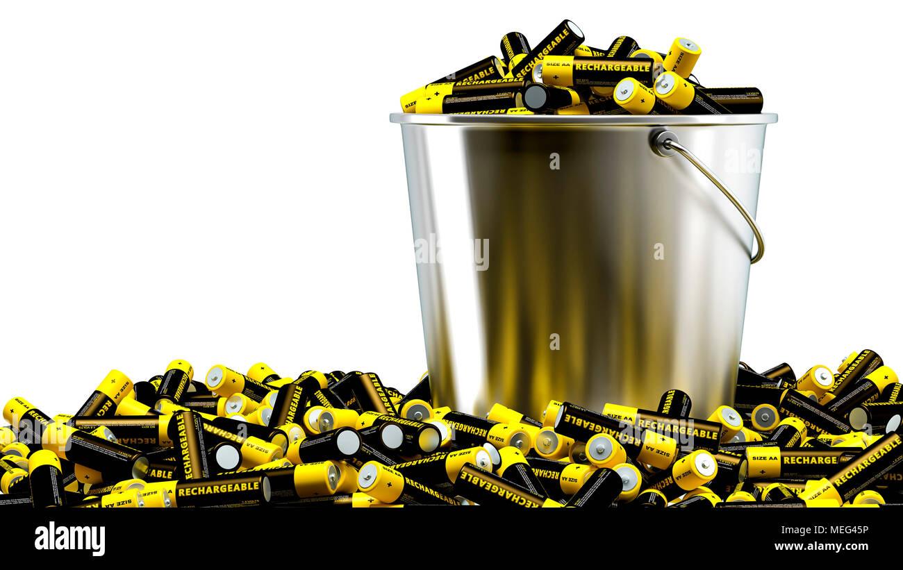 Rechargeable AA Batteries in a bucket - 3D Rendering - Stock Image