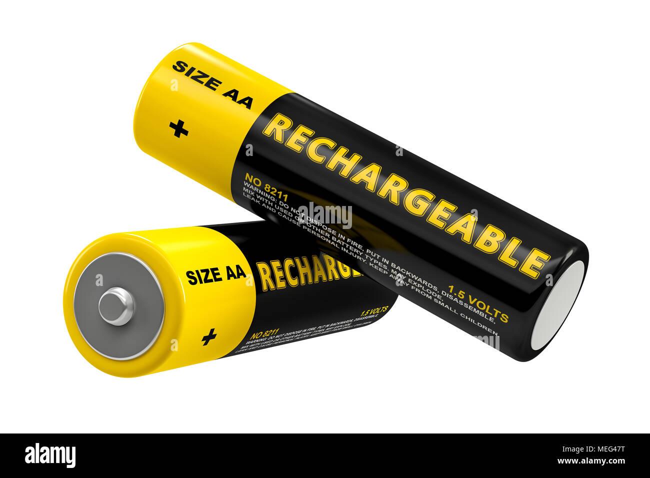 Rechargeable AA Batteries  - 3D Rendering - Stock Image