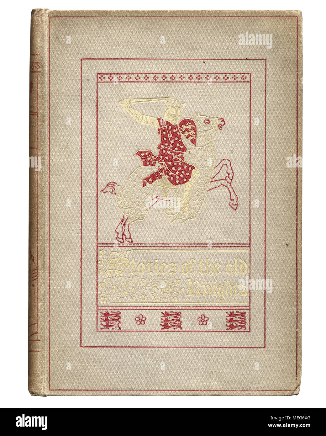 Antique book cover, Stories of the old knights - Stock Image