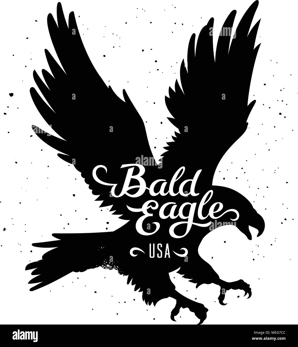 Bald Eagle silhouette and handwritten inscription 'Bald Eagle USA' / Vector illustration in hipster style / T-shirt graphics - Stock Image