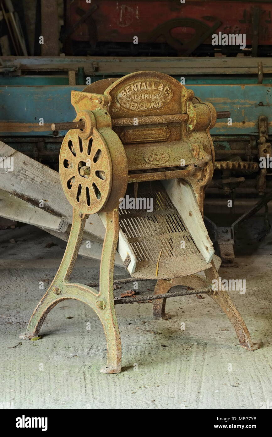 A well used Bentall and Co root shredder at Saddlescombe farm, Saddlescombe, East Sussex, UK - Stock Image