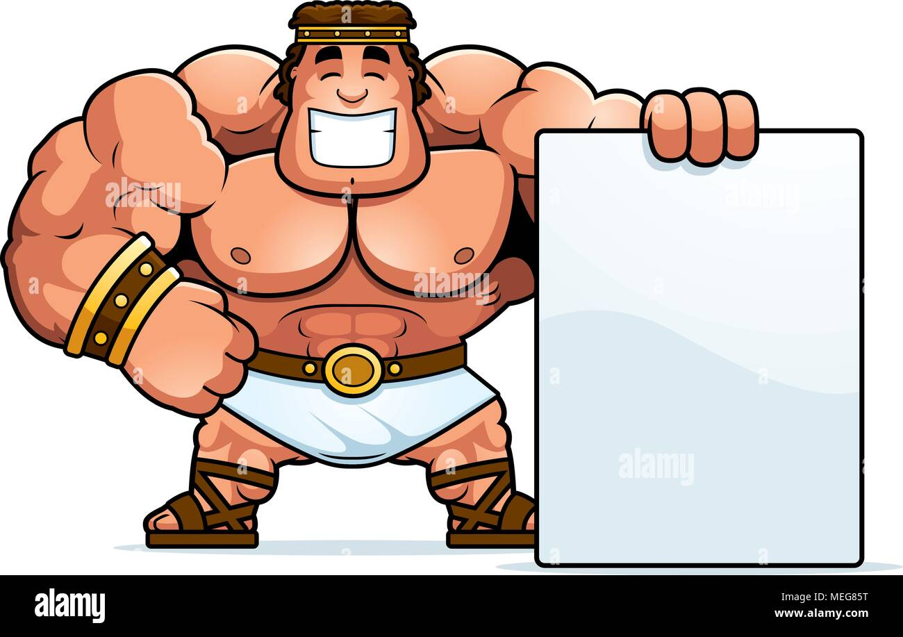 A Cartoon Illustration Of Hercules With A Sign Stock Vector