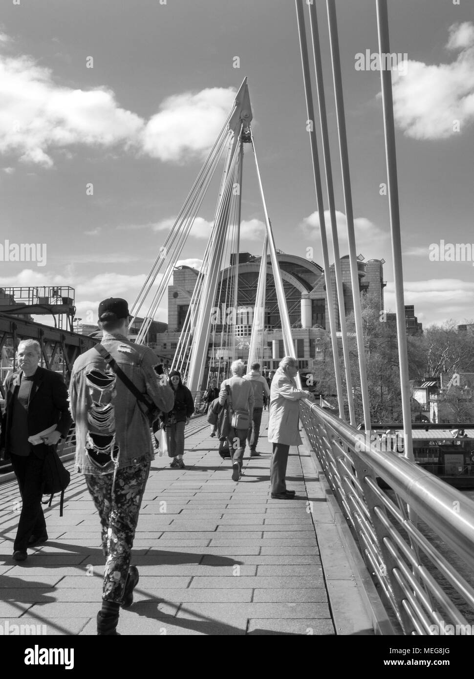 London england april 17th 2018 a black and white photograph of tourists walking