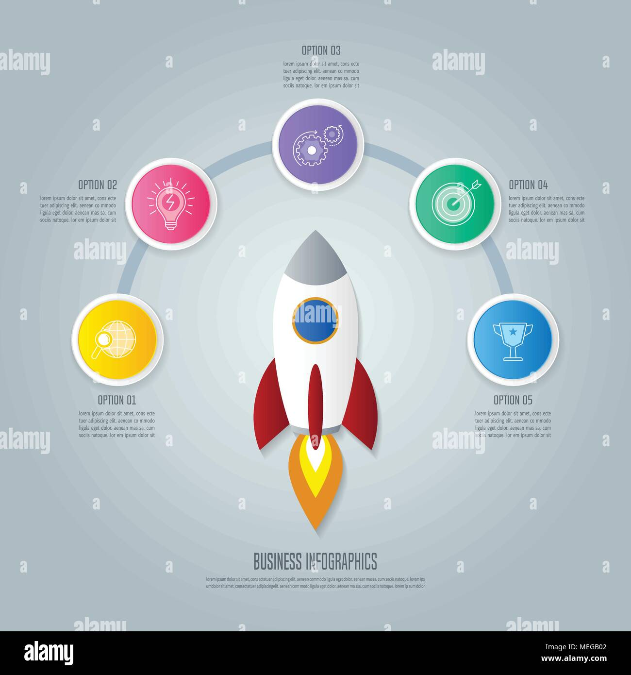 creative concept for infographic with rocket and 5 options timeline
