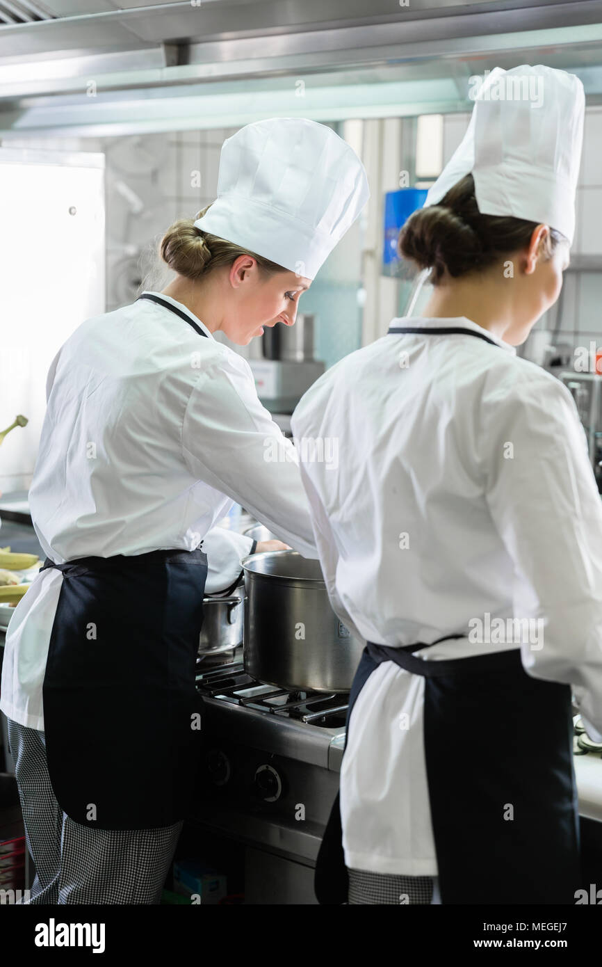 Female Chefs working in industrial kitchen - Stock Image