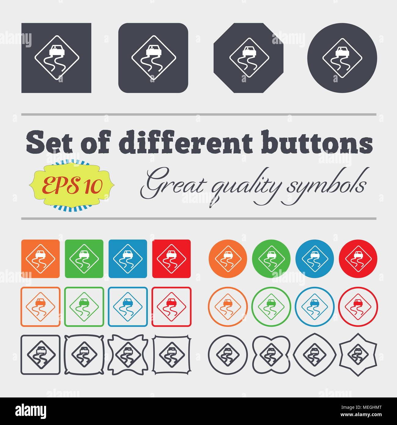 Road slippery icon sign. Big set of colorful, diverse, high-quality buttons. Vector illustration - Stock Image
