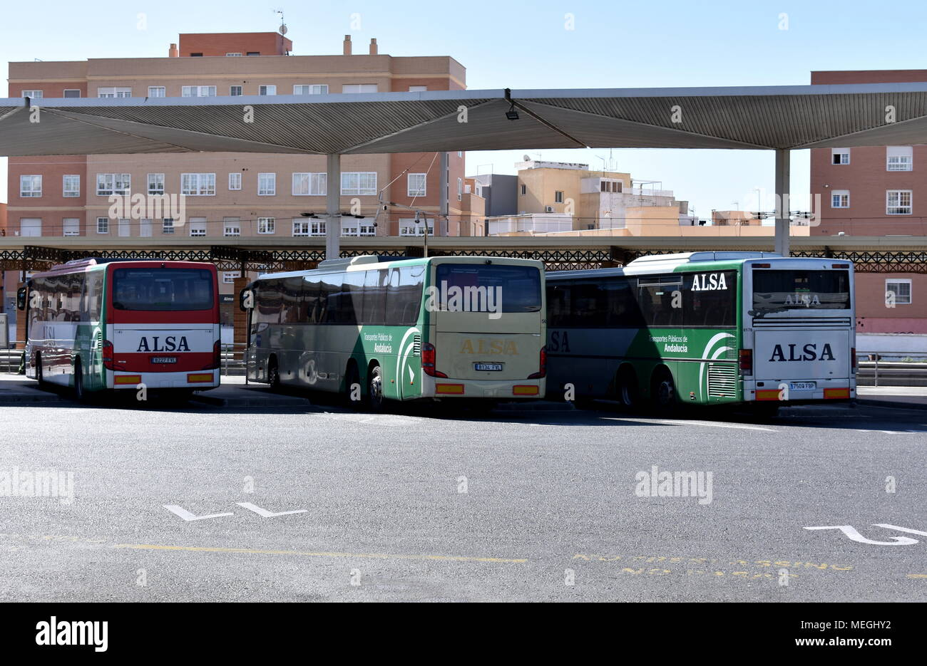 Buses waiting to depart, Almeria bus station (Estacion Intermodal), Almeria, Spain - Stock Image