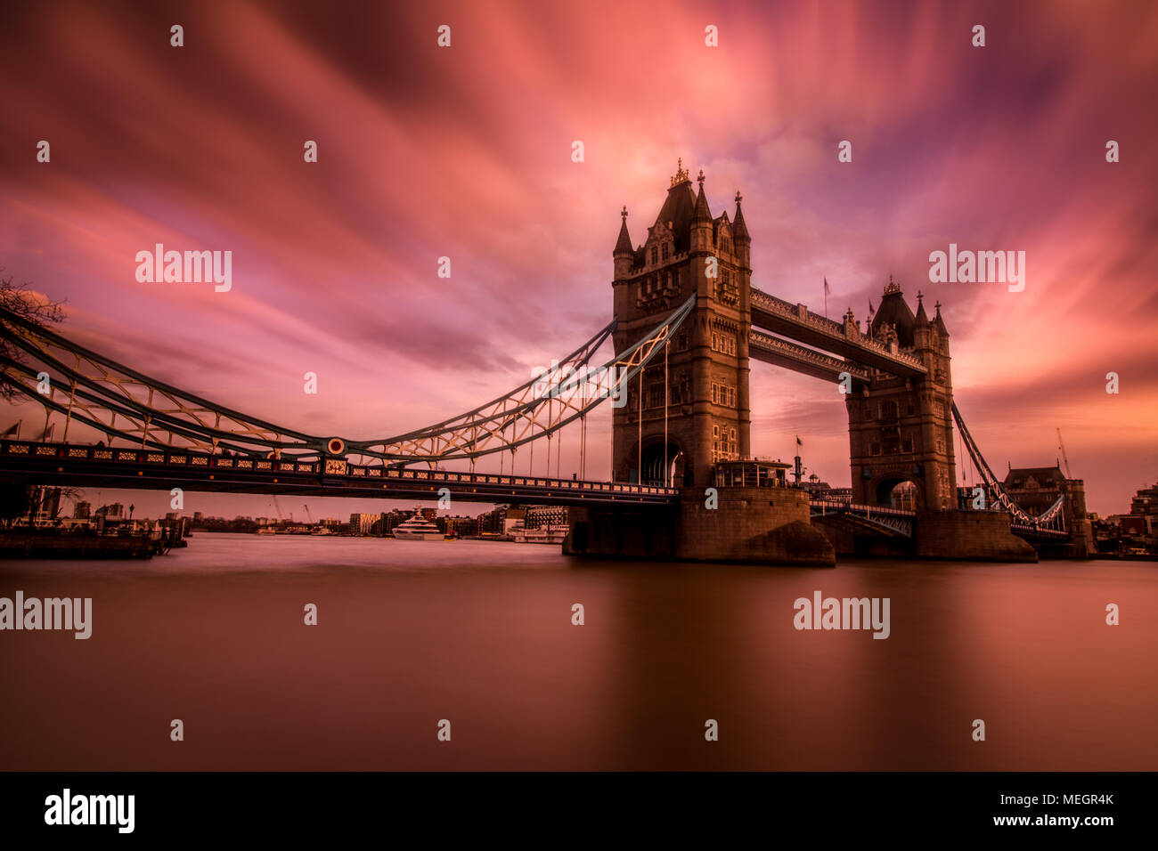 Sunset over Tower Bridge, London, England - Stock Image