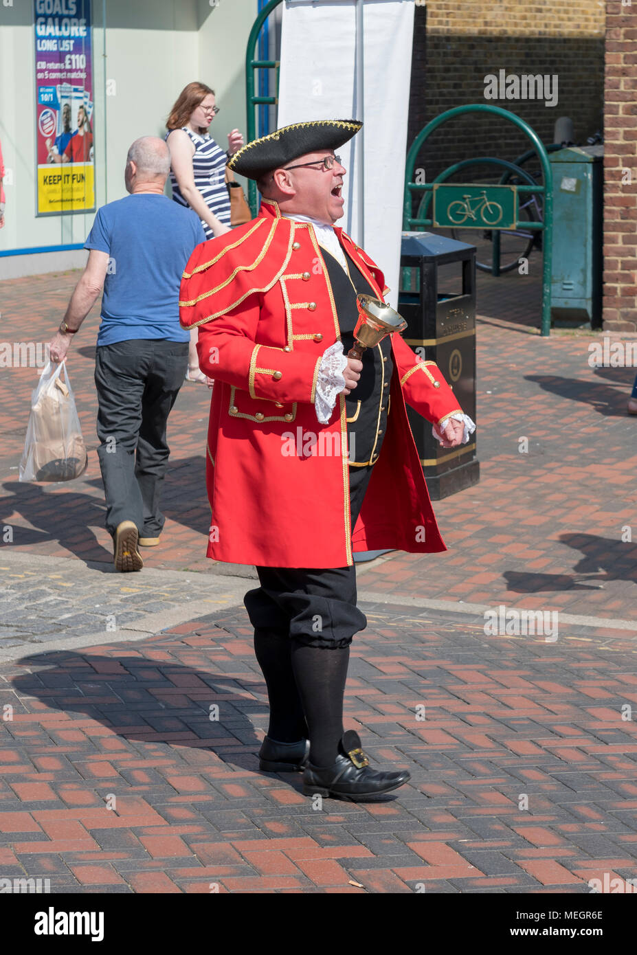 Town crier, Sittingbourne St Georges day festival - Stock Image