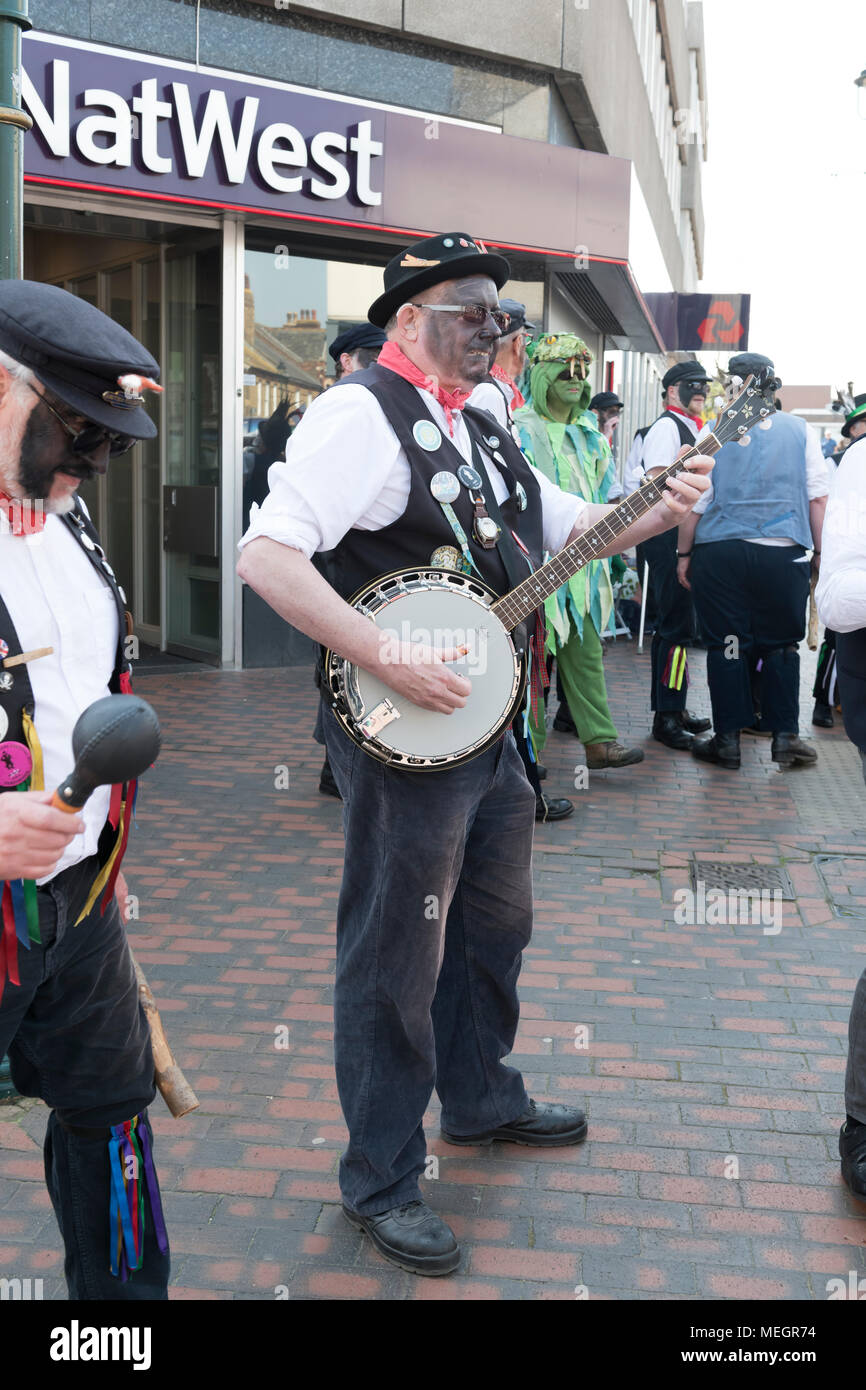 Banjo player part of the dead horse morris troup - Stock Image