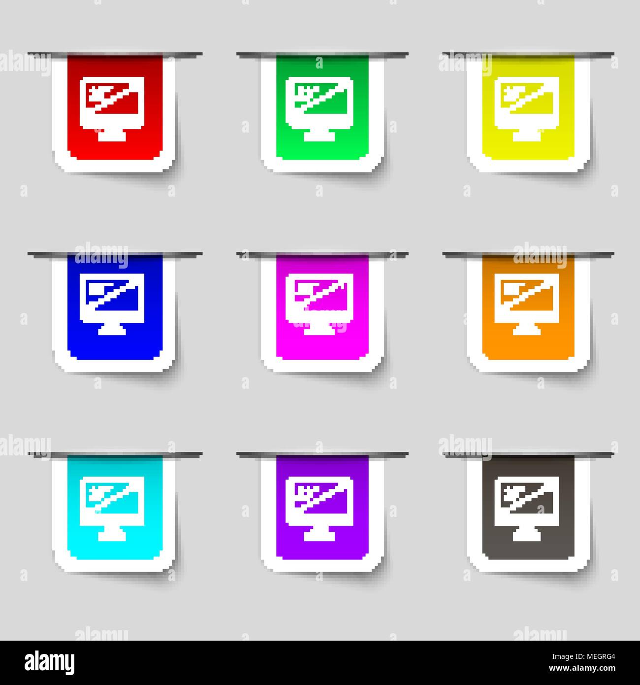diagonal of the monitor 23 inches icon sign. Set of multicolored modern labels for your design. Vector illustration - Stock Vector