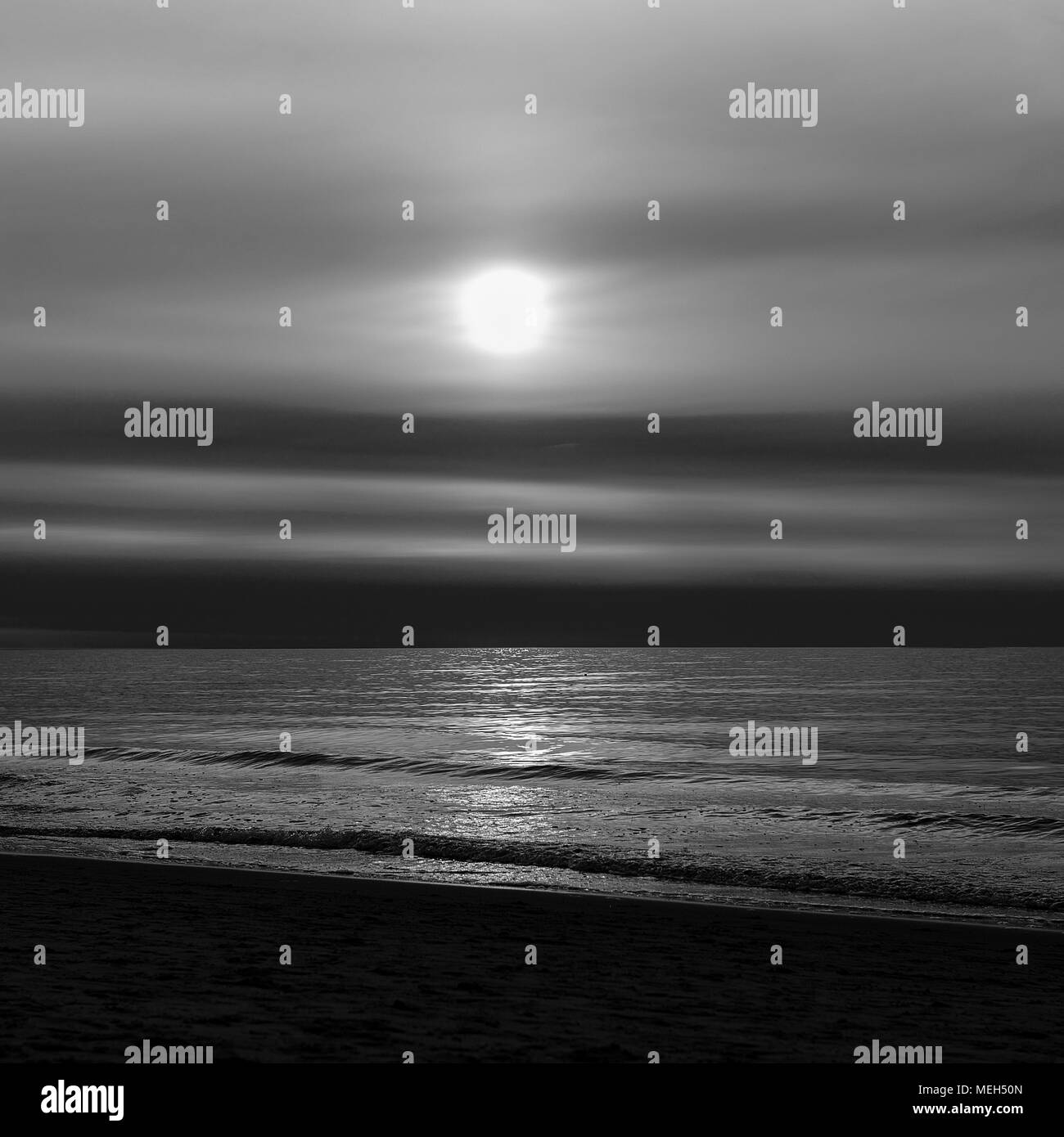 Sea sunset in black and white - Stock Image
