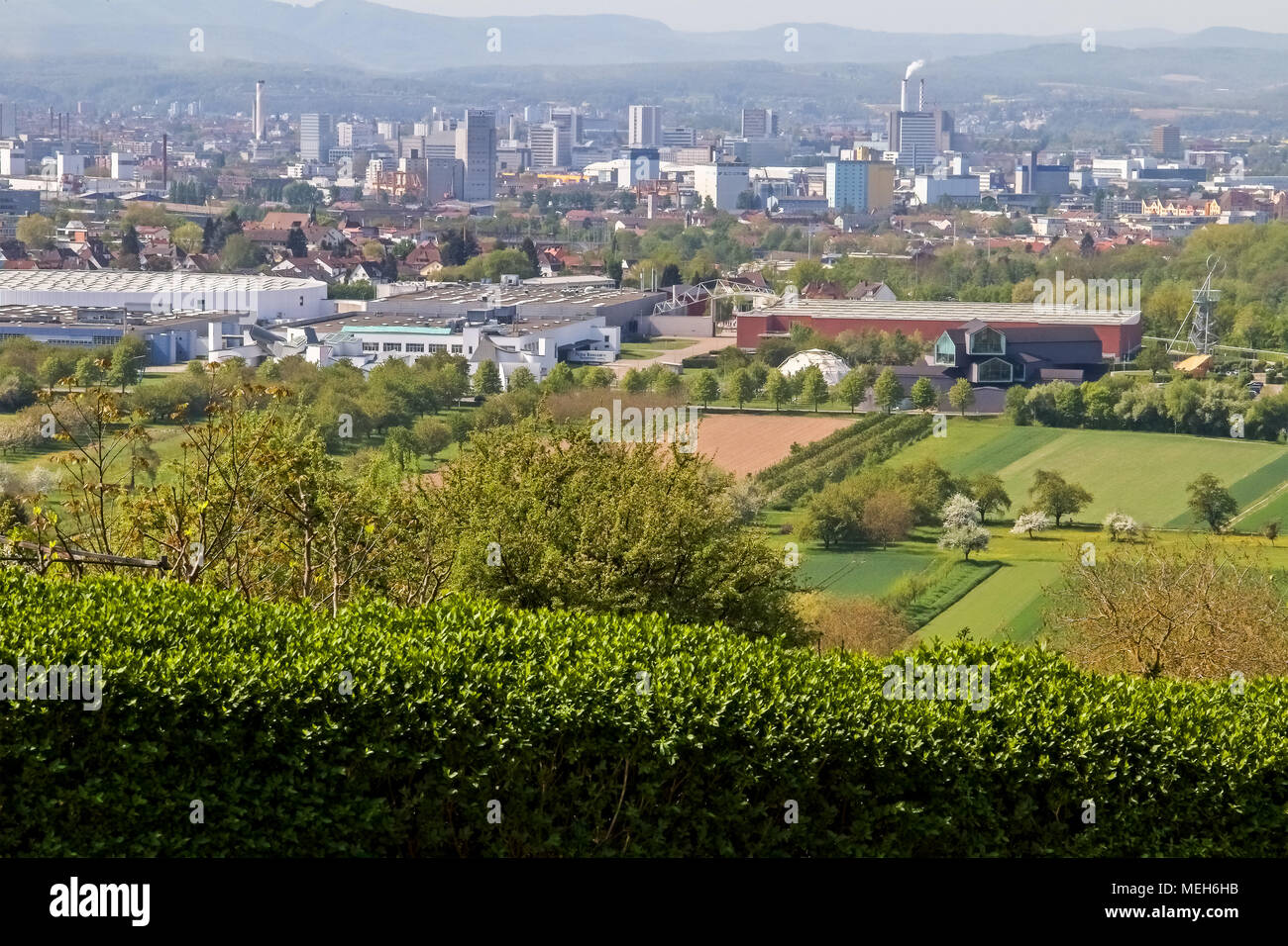 Elevated view of The Vitra Campus and factory. Weil am Rhein, Germany - Stock Image