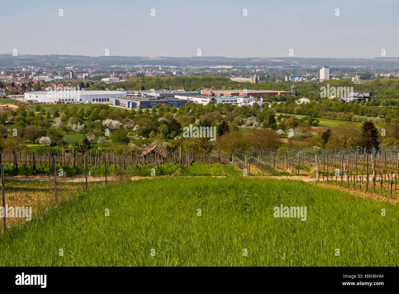 Elevated view of Vitra Campus and factory in Weil am Rhein, Germany - Stock Image