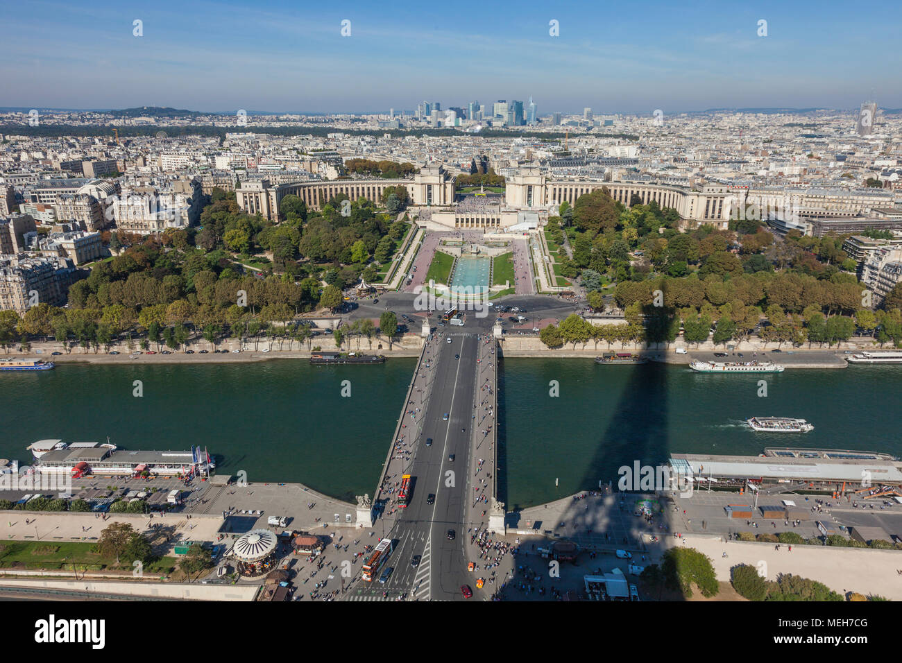 The shadow of the Eiffel Tower Stock Photo