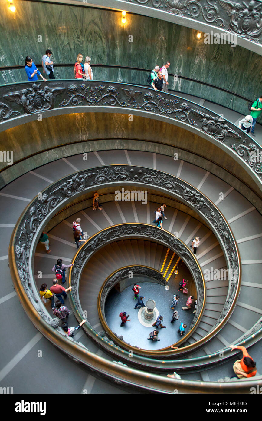 Bramante spiral staircase, Vatican Museums, Vatican City, Rome, Italy - Stock Image