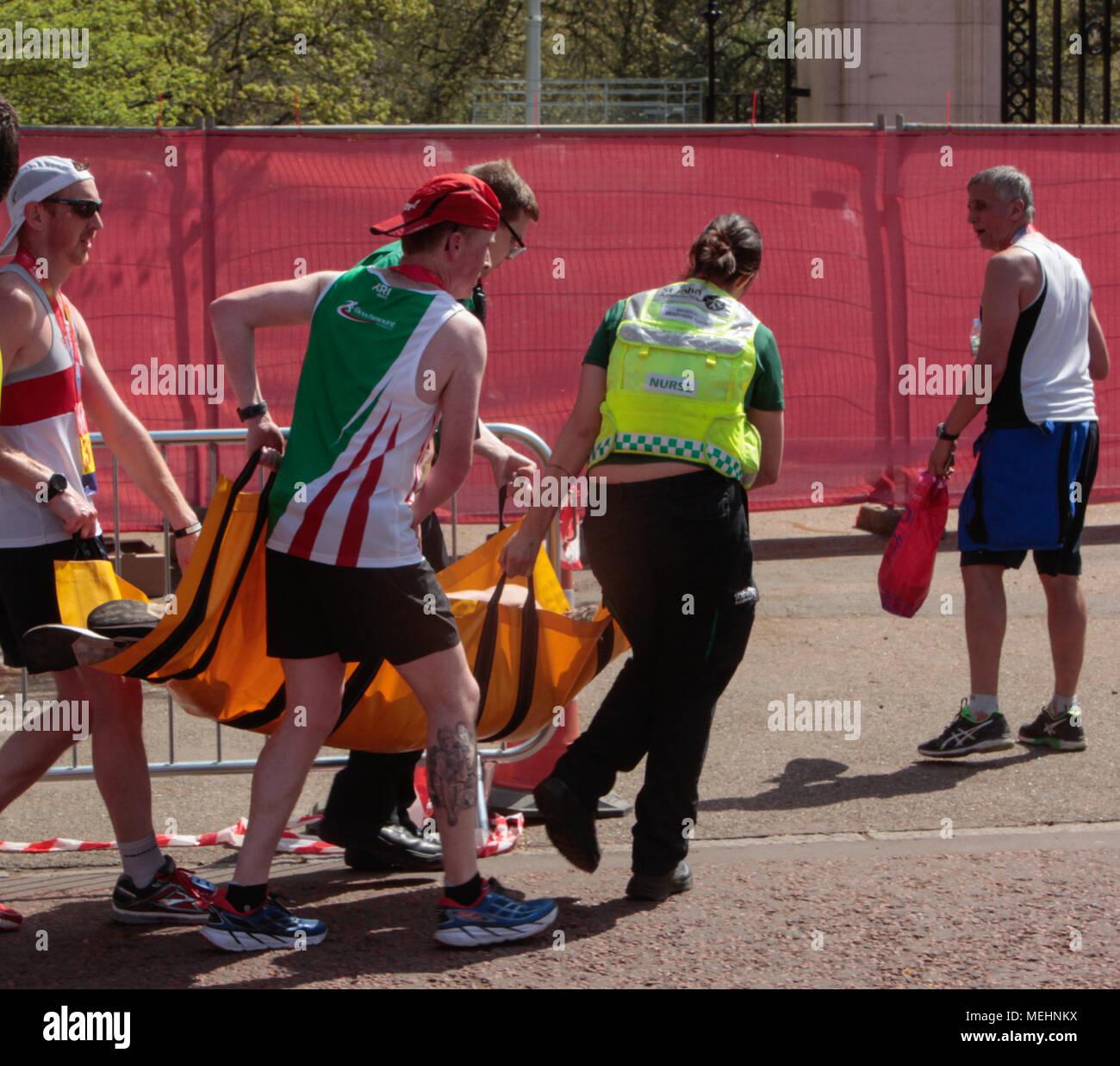 London UK 22 April 2018 The London Marathon was run in