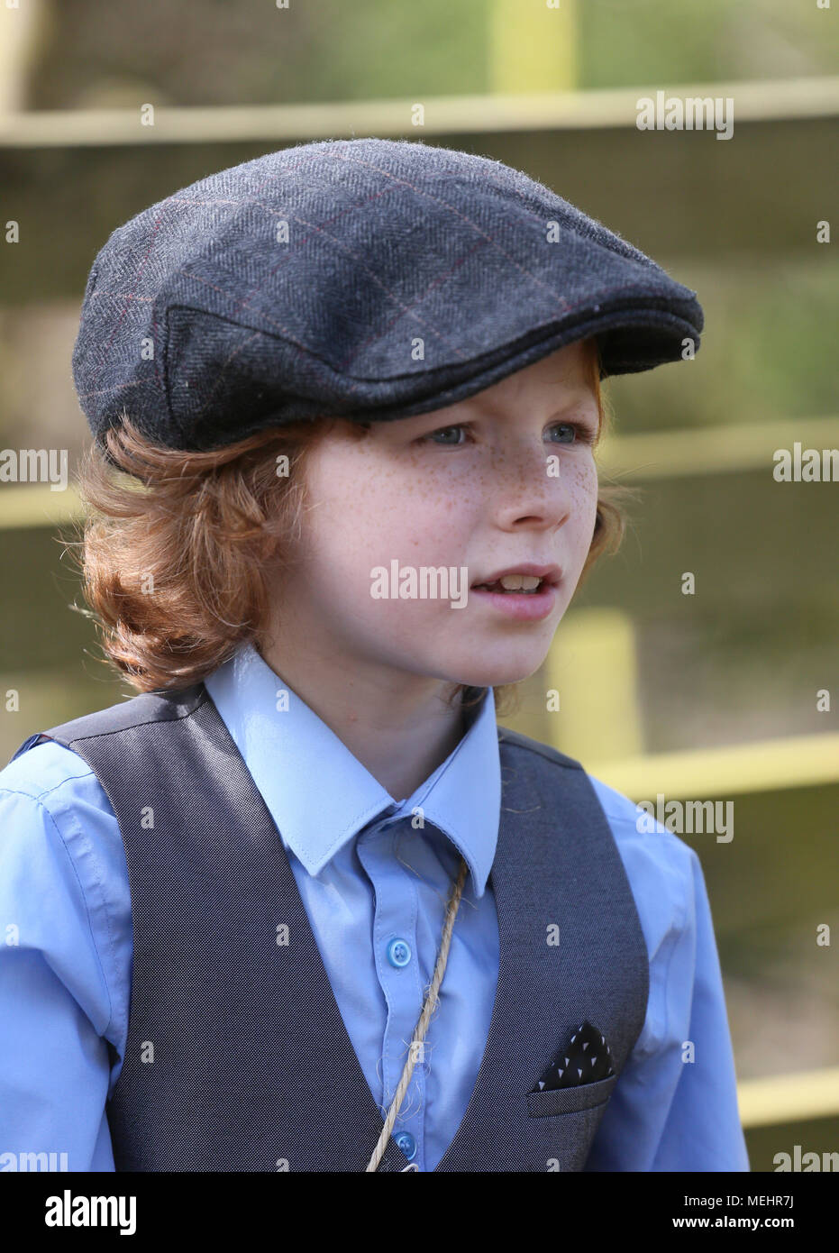 Rochdale, USA, 22 April 2018. A young boy dressed as an evacuee, Healey Dell Nature Reserve, Rochdale,22nd April, 2018 (C)Barbara Cook/Alamy Live News - Stock Image