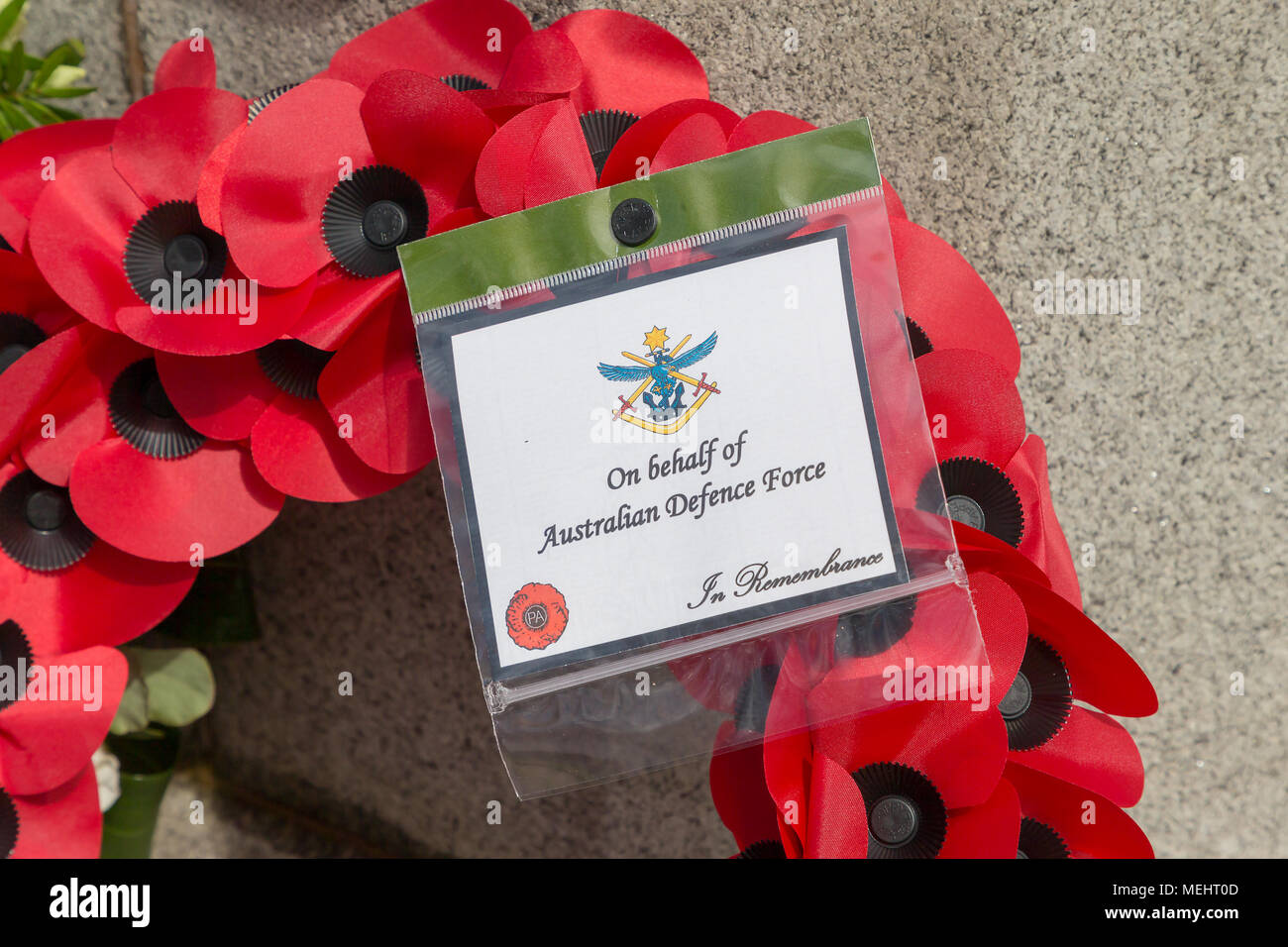 Wreaths that have been laid in Soldier's Corner to commemorate the anniversary of ANZAC day - Warrington, UK, 22 April 2018. The Anniversary of ANZAC Day has been commemorated on Sunday 22 April 2018 within Soldiers' Corner of Warrington Cemetery when the Deputy Mayor, Cllr Karen Mundry, Cadets from the Queen's Lancashire Regiment, Warrington Sea Cadets and many veterans were in attendance Credit: John Hopkins/Alamy Live News Stock Photo