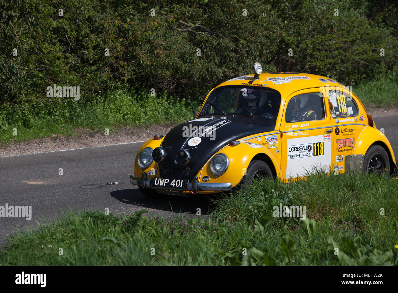 Tendring and Clacton, England. 22nd April, 2018. The first ever closed road rally to be held in England sweeps through Tendring, Essex. The trailblazing Corbeau seats rally sees 120 competitors compete across five special stages. Around 10,000 spectators cheer on the drivers. Stephanie Humphries/Alamy Live News - Stock Image