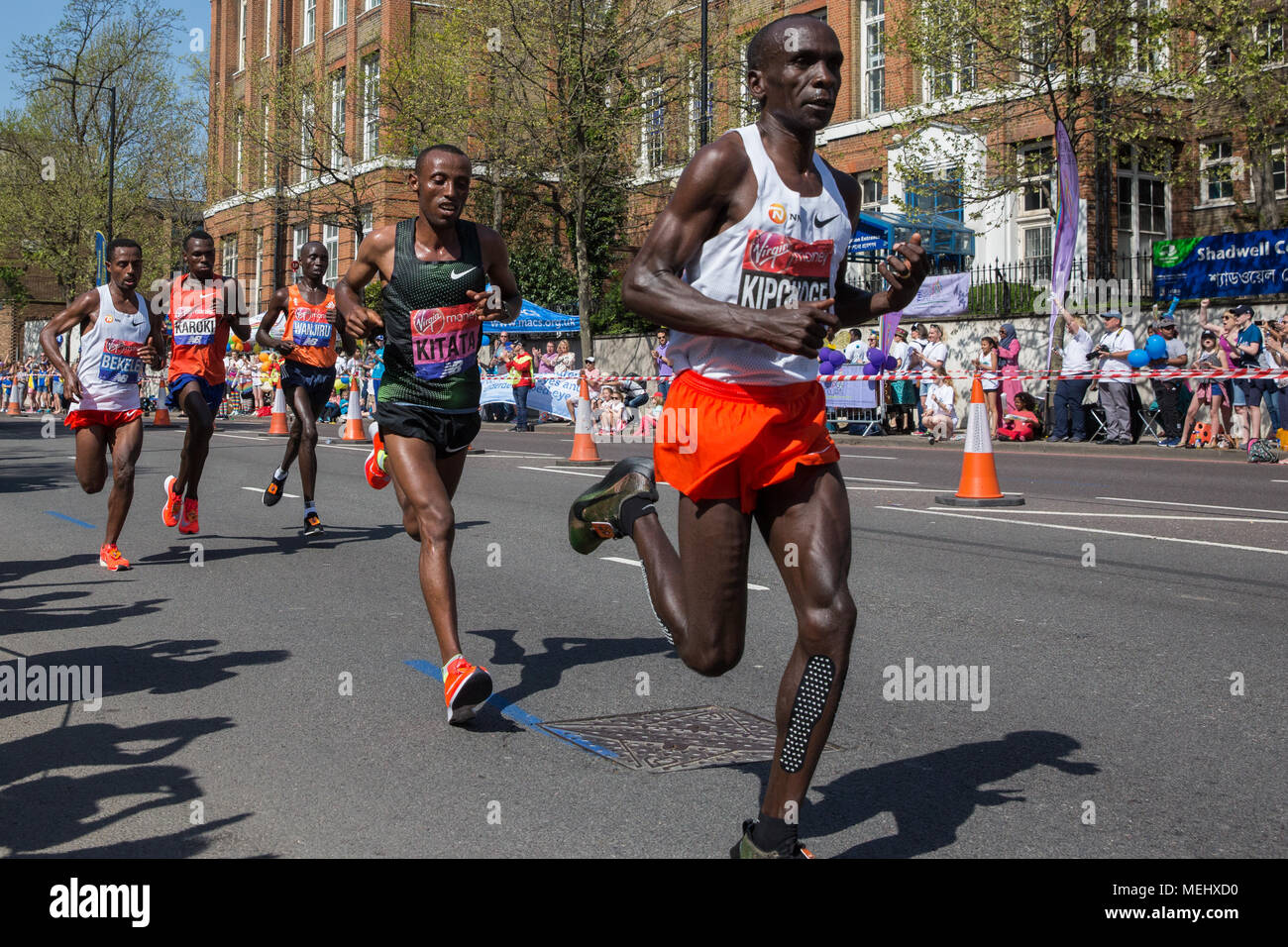 London, UK. 22nd April, 2018. Eliud Kipchoge of Kenya and Tola Shura Kitata of Ethiopia, who finished first and second in the men's event, compete in the 2018 Virgin Money London Marathon, followed by Kenenisa Bekele of Ethiopia and Bedan Karoki and Daniel Wanjiru of Kenya. Credit: Mark Kerrison/Alamy Live News Stock Photo
