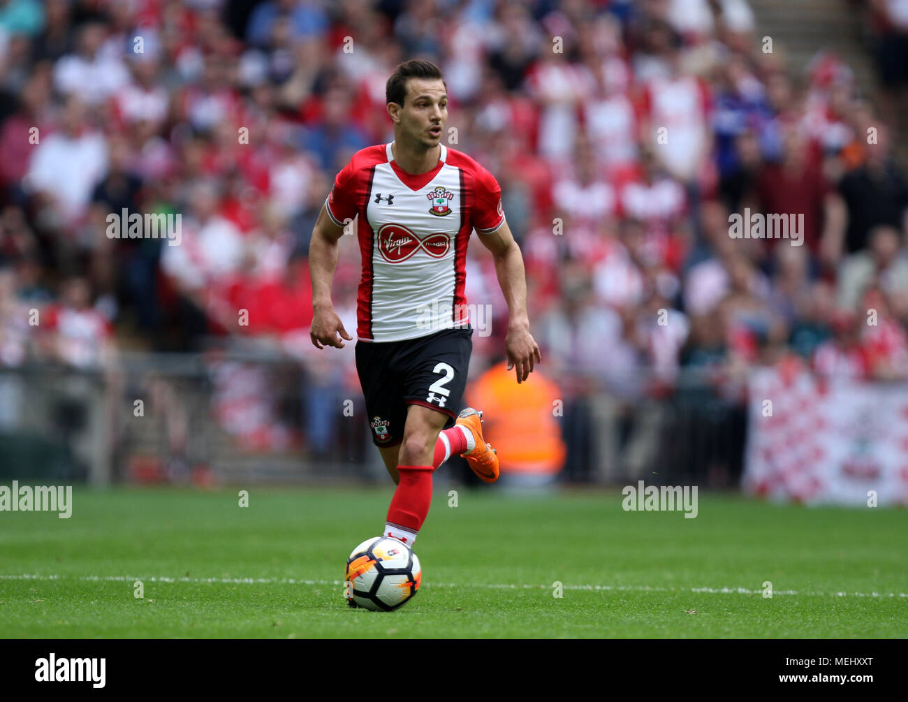 London, UK, 22 April 2018. Cedric (S) at the Emirates FA Cup Semi-Final between Chelsea and Southampton, at Wembley Stadium, London, on April 22, 2018. **THIS PICTURE IS FOR EDITORIAL USE ONLY** Credit: Paul Marriott/Alamy Live News Stock Photo