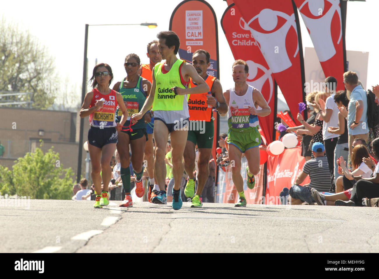 London, United Kingdom - April 22: Misato Michishita, who retained the women's T11/12 title in 3:04:00, races towards the 17 mile mark at Madchutte during the Virgin Money London Marathon on April 22, 2018. Over 40,000 are expected to start the 26.2 miles run from Greenwich to Westminster.© David Mbiyu/Alamy Live News - Stock Image