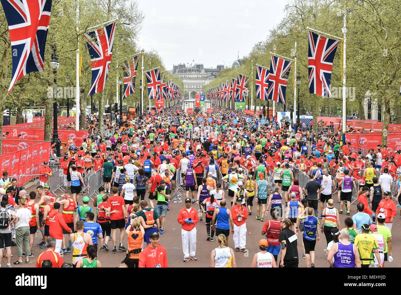 London, UK, 22 April 2018: Mass Race runners approach the finish at The Mall during the 2018 Virgin Money London Marathon on Sunday, 22 April 2018. London, England. Credit: Taka G Wu Stock Photo