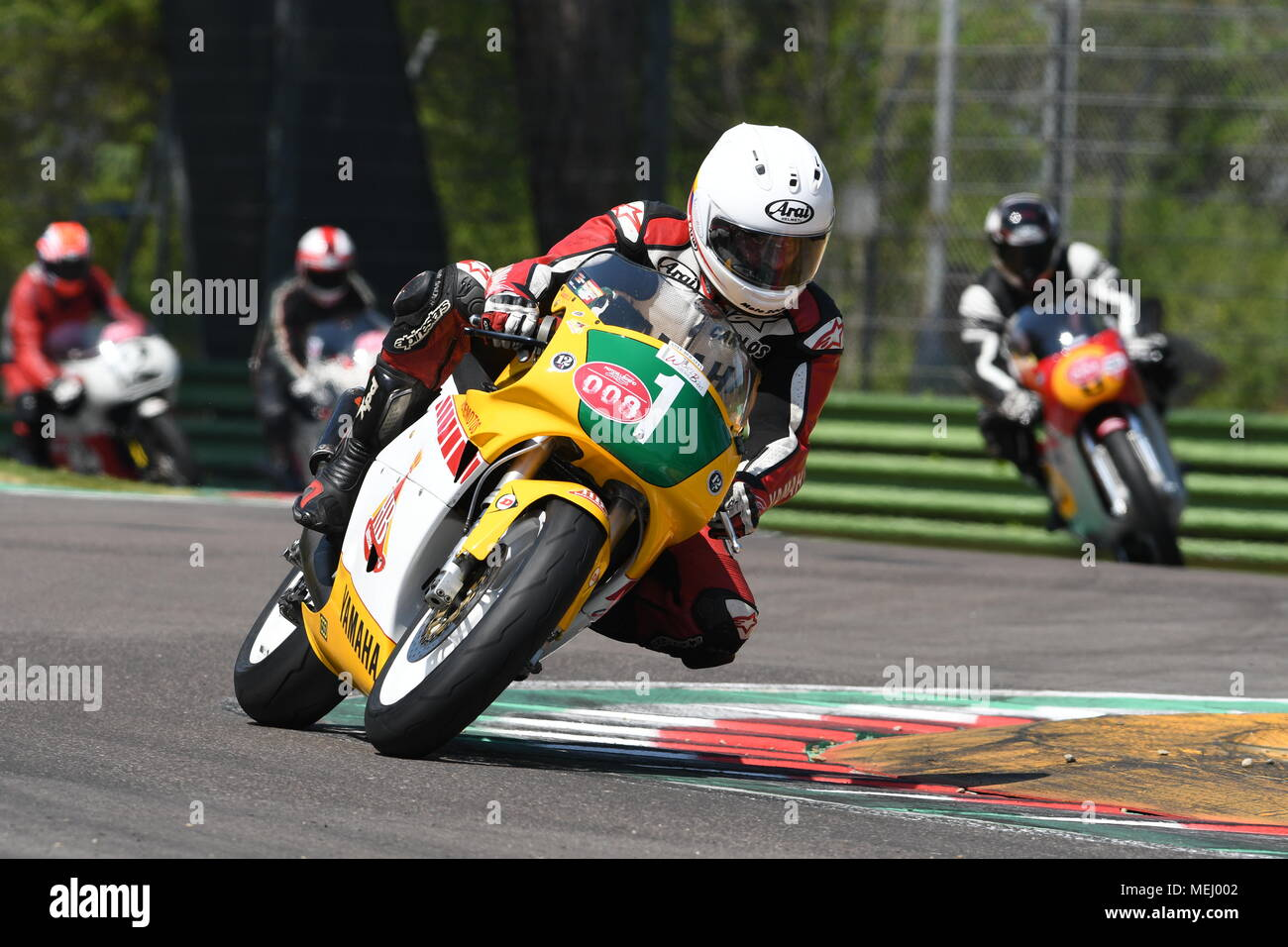 Imola Circuit, Italy. 21 April 2018: Carlos Lavado on Yamaha YZR 250 during Motor Legend Festival 2018 at Imola Circuit in Italy. Credit: dan74/Alamy Live News - Stock Image