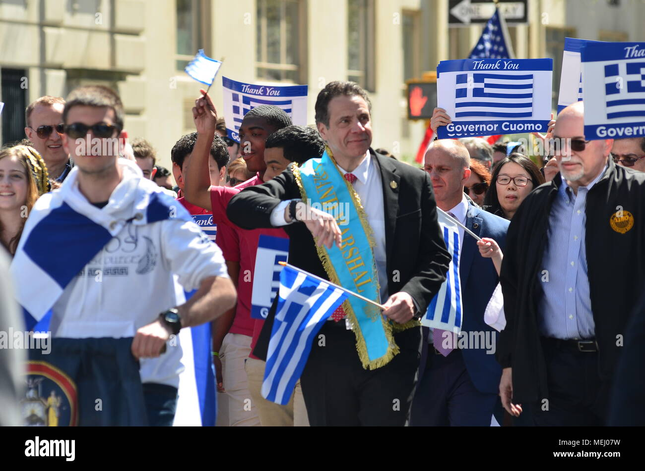 Manhattan, New York, USA. 22nd Apr, 2018. Governor Andrew M. Cuomo attends Greek Independence Parade on 5th Avenue in New York City. Credit: Ryan Rahman/Alamy Live News - Stock Image