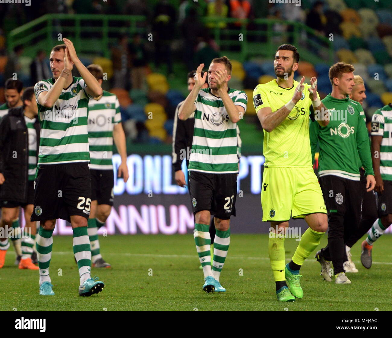 Lisbon portugal 22nd apr 2018 players of sporting greet the lisbon portugal 22nd apr 2018 players of sporting greet the spectators after portuguese league soccer match between sporting cp and boavista fc in m4hsunfo
