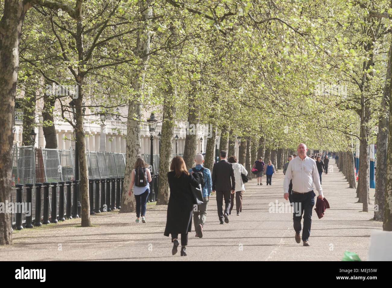 London UK. 23rd April 2018. UK Weather: Morning commuters walking in the spring sunshine down The Mall on a pleasant sunny morning as London wakes to cooler temperatures Credit: amer ghazzal/Alamy Live News Stock Photo