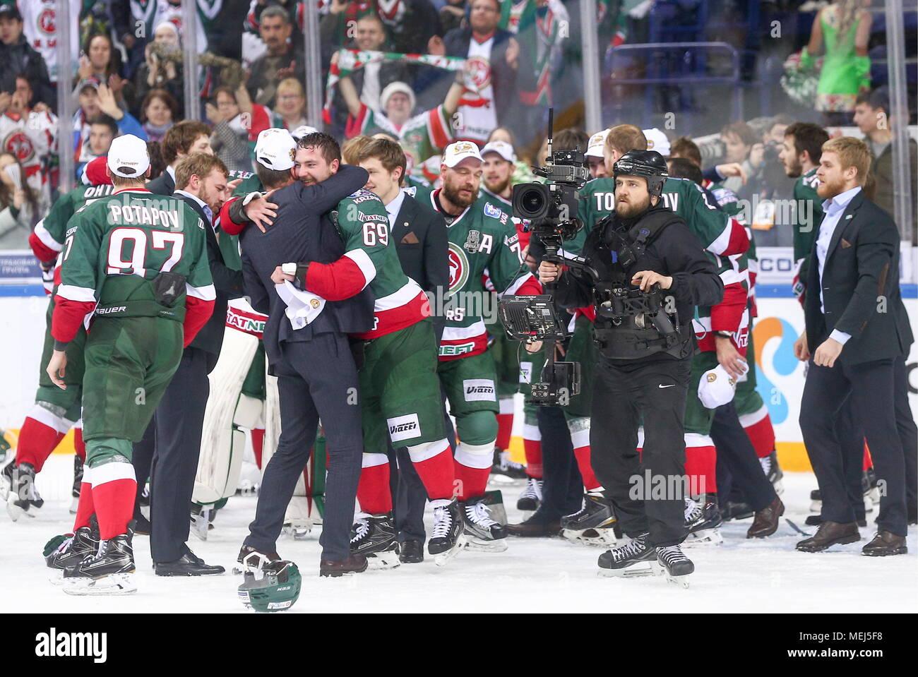 Kazan Russia April 22 2018 Ak Bars Kazan S Players Celebrate