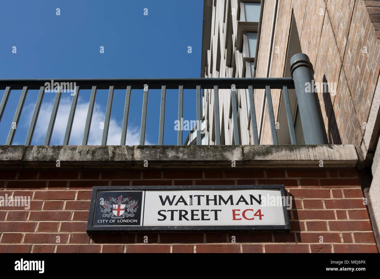 city of london street name sign for waithman street - Stock Image