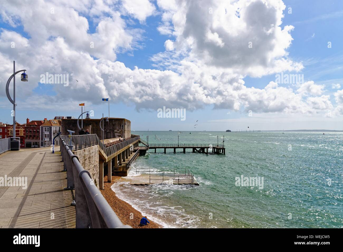 The historic fortifications on the seafront in old Portsmouth Hampshire England UK - Stock Image