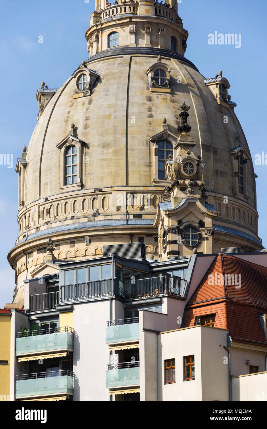 Dresden Frauenkirche, Church of Our Lady in Dresden, Germany Stock Photo
