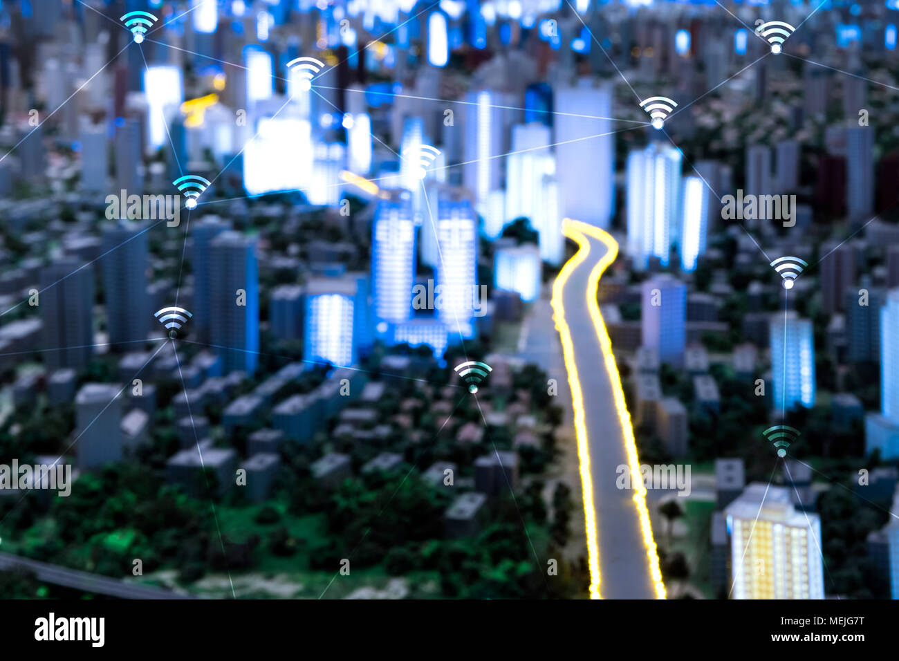 Smart city , power grids electric Energy Distribution chain industry , internet of things (iot) and long range wifi technology concept. - Stock Image
