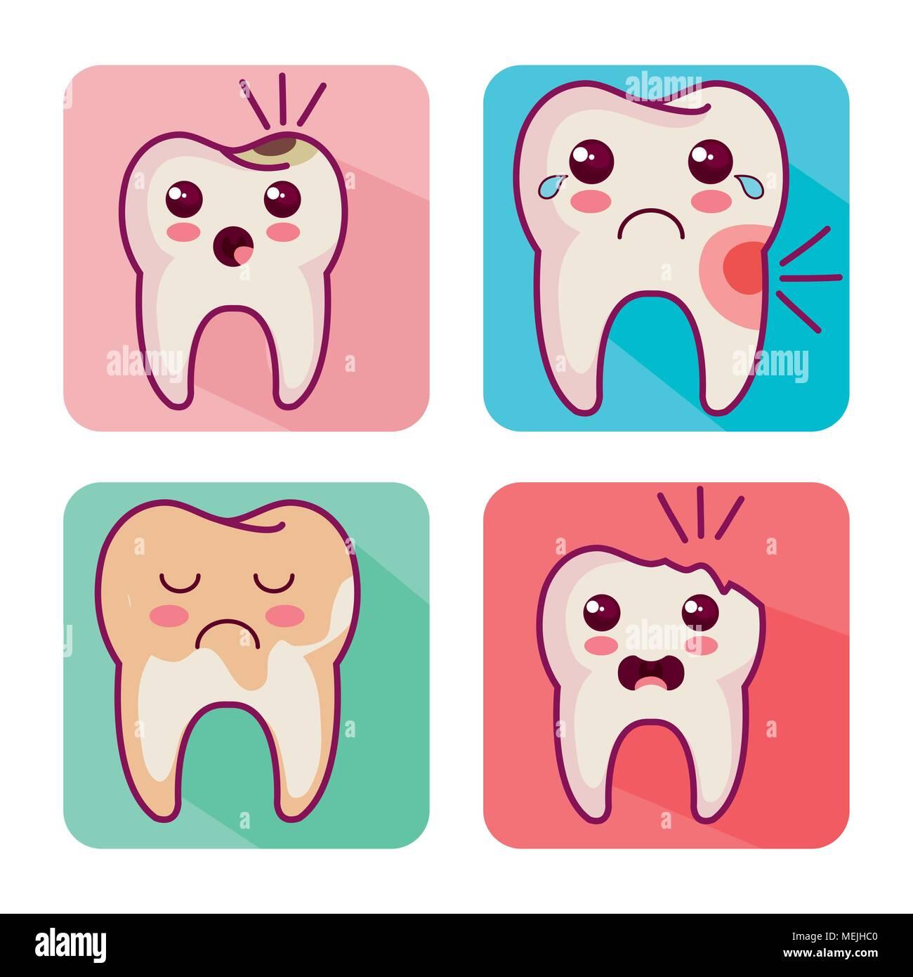 dental care kawaii characters - Stock Image
