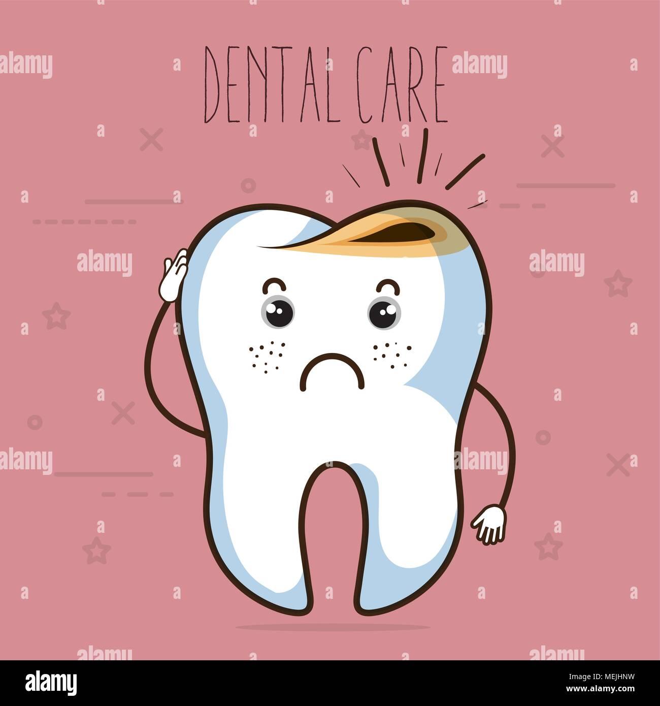 dental care kawaii comi character - Stock Image