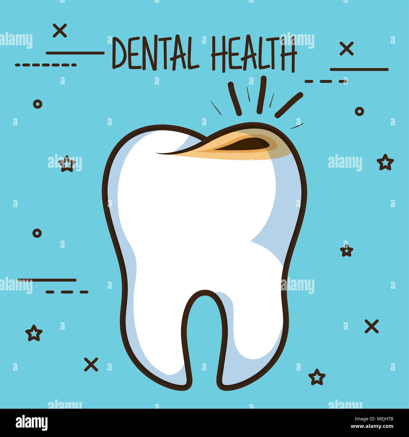 tooth with cavities dental care icon - Stock Image